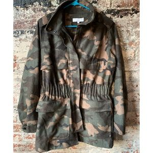 Anthropologie Current Air Camoflage Wool Coat